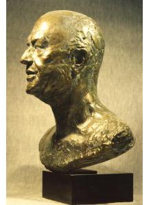 Buste de Pierre PFLIMLIN 1987 - Fonte à la cire perdue  Fonderie Delval Pierre PFLIMLIN, Président du dernier Conseil de la IV République,  Maire de Strasbourg et Président du Conseil de l'Europe. H 60