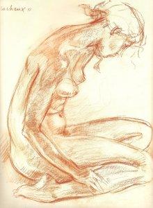 Sylviane courbée 1993 - Sanguine 72*60