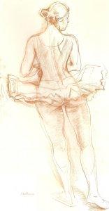 Danseuse s'élançant - Sanguine