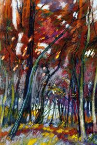 La forêt des Tronçais en automne - Pastel sec C.P 62.7*47