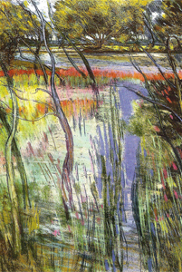 La Loire inonde l'île aux chevaux 2004 - Pastel sec C.P 65*50