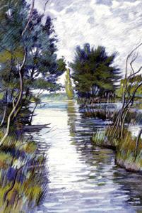 Les inondations de la Moder  1981 - Pastel sec C.P 63*48