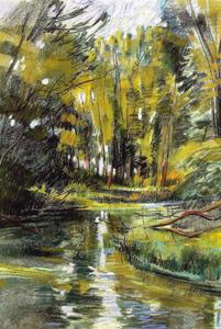 L'eau transparente du Rhin tordu 1985 - Pastel sec C.P 64*48